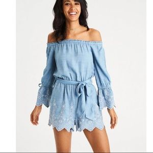 NWT Embroidered chambray romper